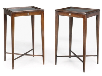 A MATCHED PAIR OF MAHOGANY BIJ