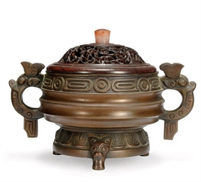 A CHINESE BRONZE CENSER AND WO