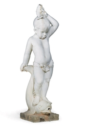 A MARBLE FOUNTAIN FIGURE OF A