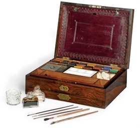 A VICTORIAN ROSEWOOD ARTIST'S