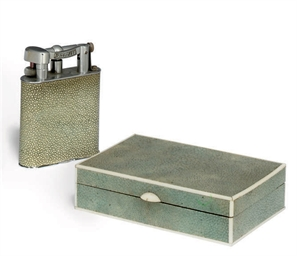 A DUNHILL SHAGREEN AND CHROMIU
