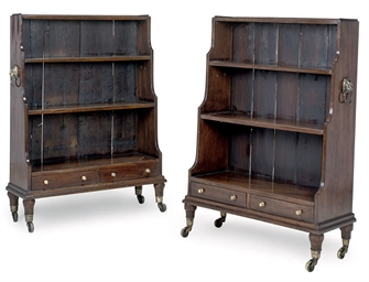 A PAIR OF MAHOGANY WATERFALL B