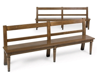 A PAIR OF OAK BENCHES