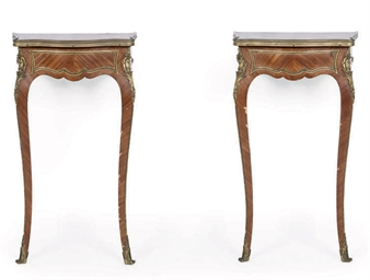 A PAIR OF MAHOGANY AND GILT ME