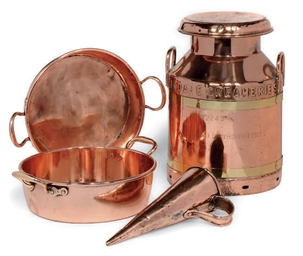 A COPPER MILK CHURN