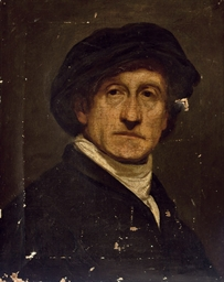 Head of a man in a black cap