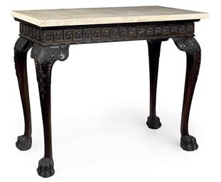 A CARVED MAHOGANY CONSOLE TABL