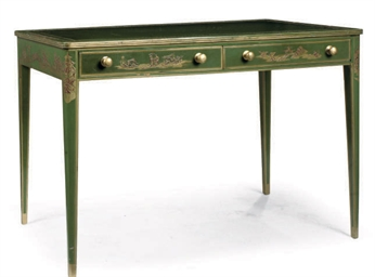 A GREEN JAPANNED WRITING TABLE