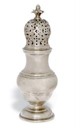A GERMAN SILVER SUGAR CASTER