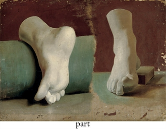 A sketch of foot casts; and A