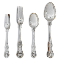 A VICTORIAN SILVER PART TABLE SERVICE OF QUEEN'S PATTERN FLATWARE