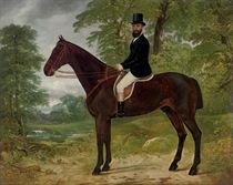 Portrait of a gentleman with his hunter, in a wooded landscape