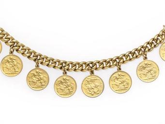 A PAIR OF GOLD COIN CHARM BRAC