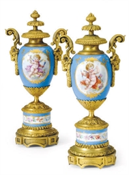 A PAIR OF SEVRES STYLE GILT ME