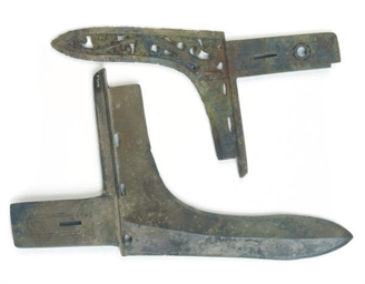 TWO CHINESE BRONZE DAGGER-AXES