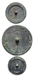 THREE CHINESE BRONZE MIRRORS,
