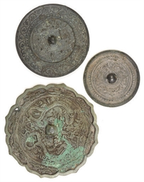 TWO CHINESE BRONZE MIRRORS,