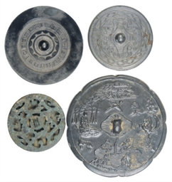 FOUR CHINESE BRONZE MIRRORS,