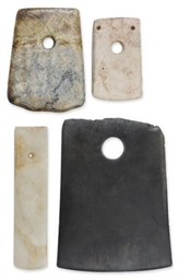 THREE CHINESE HARDSTONE AXES,
