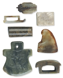 SIX CHINESE JADE CARVINGS,