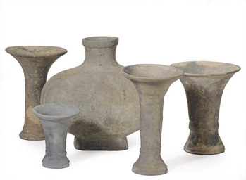 FOUR CHINESE GREY VESSELS, GU,