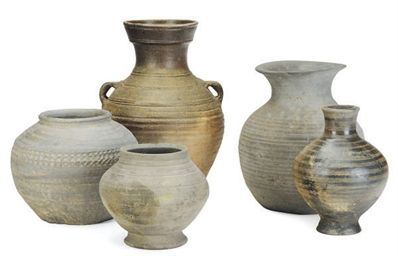 FIVE CHINESE POTTERY JARS,