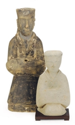 TWO CHINESE POTTERY FEMALE FIG
