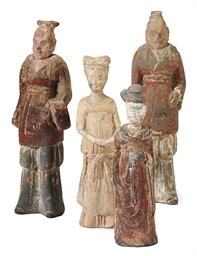FOUR CHINESE PAINTED CLAY FIGU