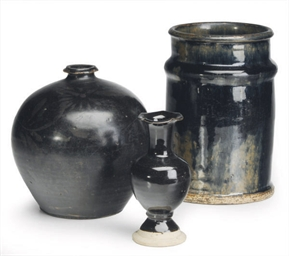 A CHINESE PAINTED BLACK-GLAZED