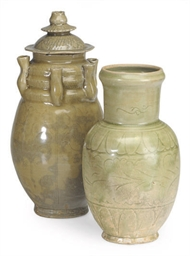 TWO CHINESE CELADON-GLAZED JAR