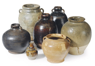 THREE CHINESE POTTERY JARS AND