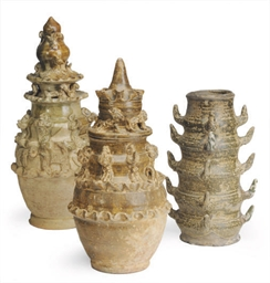THREE CHINESE POTTERY FUNERARY