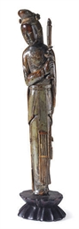 A CHINESE IVORY FIGURE OF A FE