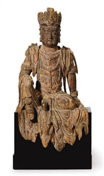 A CHINESE PAINTED WOOD FIGURE