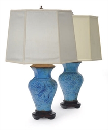 A PAIR OF CHINESE BLUE-GLAZED