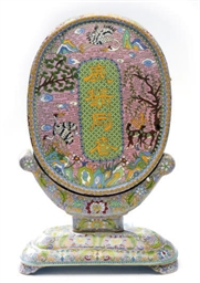 A CHINESE CLOISONNE ENAMEL TAB