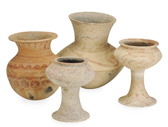 FOUR ASIAN PAINTED POTTERY VES