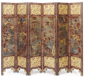 A CHINESE GILT AND POLYCHROME-