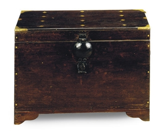 A BRASS INLAID MAHOGANY CHEST,