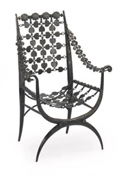 A PATIANTED BRONZE ARMCHAIR,