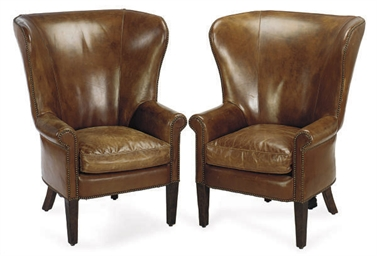 A PAIR OF BROWN LEATHER WINGBA