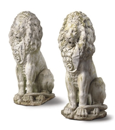 A PAIR OF COMPOSITION LION FOR