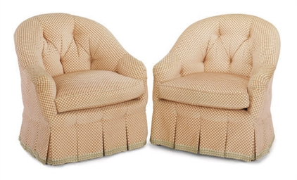 A PAIR OF PINK CUT-VELVET UPHOLSTERED CLUB CHAIRS,
