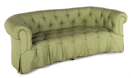 A GREEN SILK UPHOLSTERED SOFA,