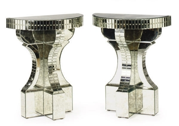 A PAIR OF MIRRORED CONSOLES,