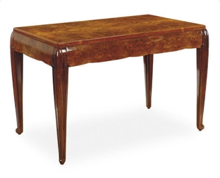 AN ART DECO WALNUT CENTER TABL