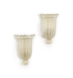 A PAIR OF VENETIAN GLASS WALL-