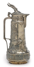 A SILVER-PLATED WINE EWER WITH