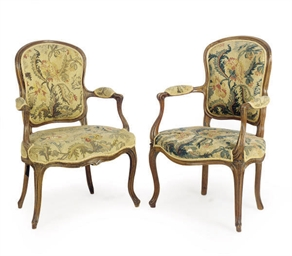 A SIMILAR PAIR OF LOUIS XV BEECH AND WALNUT FAUTEUILS,