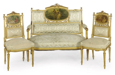 A FRENCH GILTWOOD AND SCENIC P